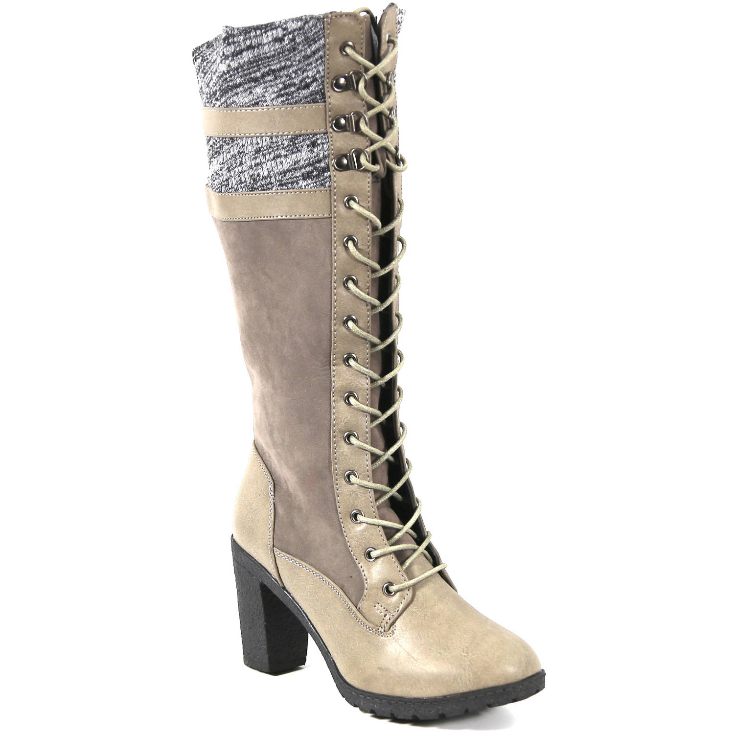 Carrini CA Collection Women's Fashion Knit Cuff Lace-Up Boots