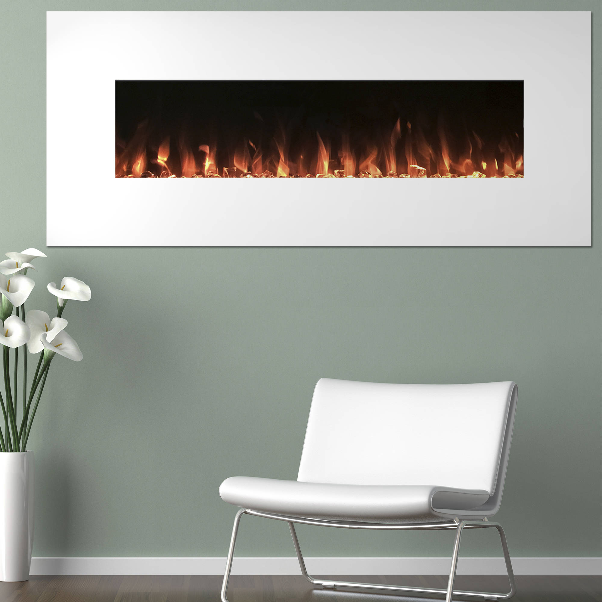 Electric Fireplace Wall Mounted, Color Changing LED Flame and Remote, 50 Inch, By Northwest (White)