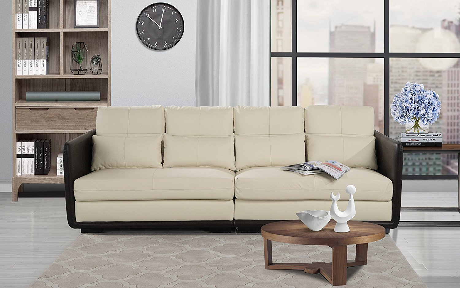 Classic 2 Piece Convertible Living Room Leather Sofa, Adjustable Couch  (Beige)