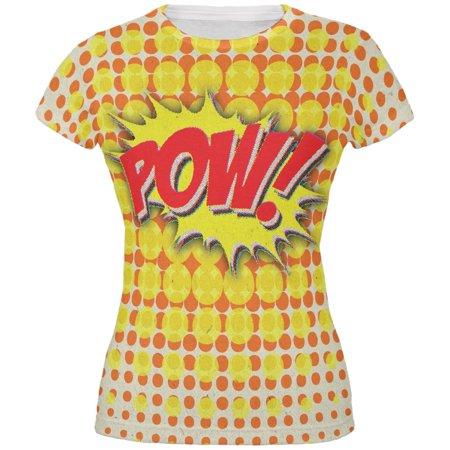 POW Comic Book Super Hero All Over Juniors T-Shirt - Superhero Pow