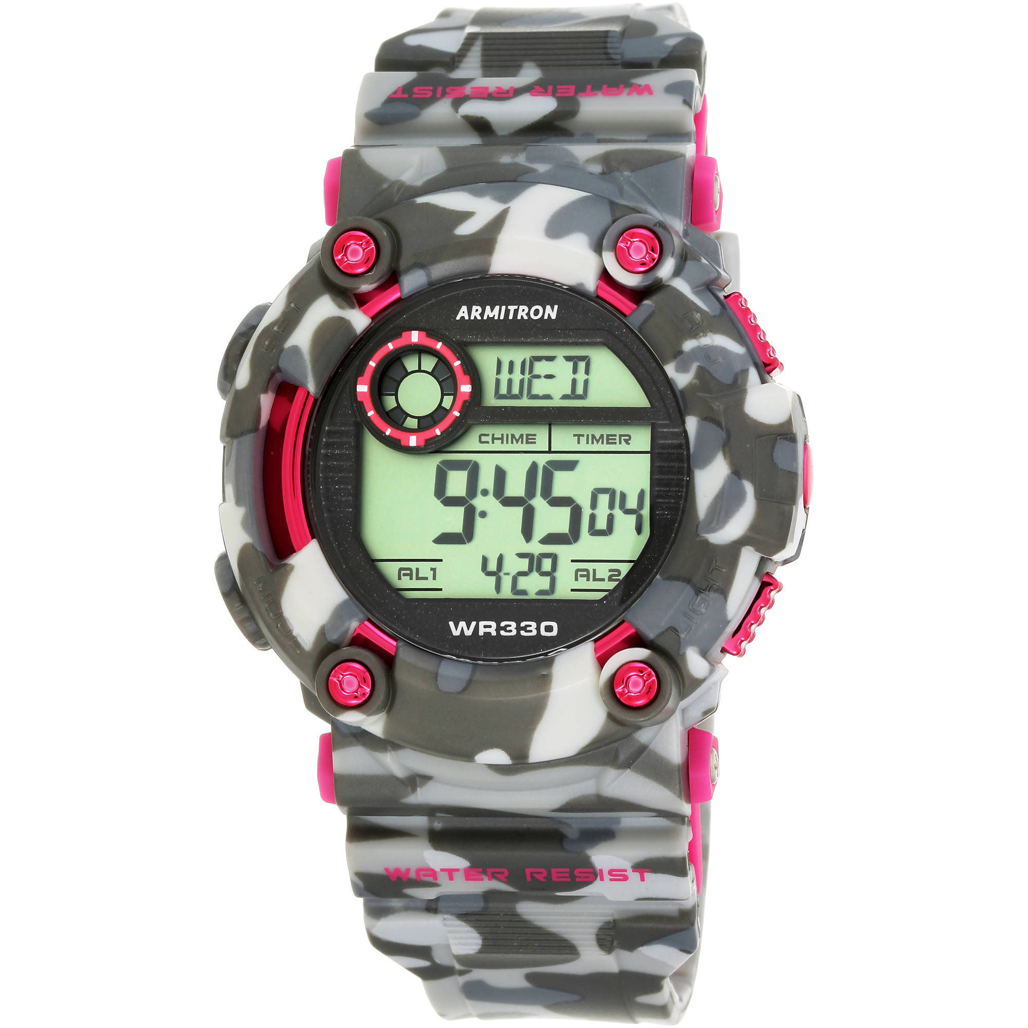 Armitron Women's Sport Countertop Pink Camouflage Watch, Resin Band