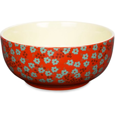 Live Simply   Good Food Is All The Sweeter When Shared With Good Friends Red Floral Bowl