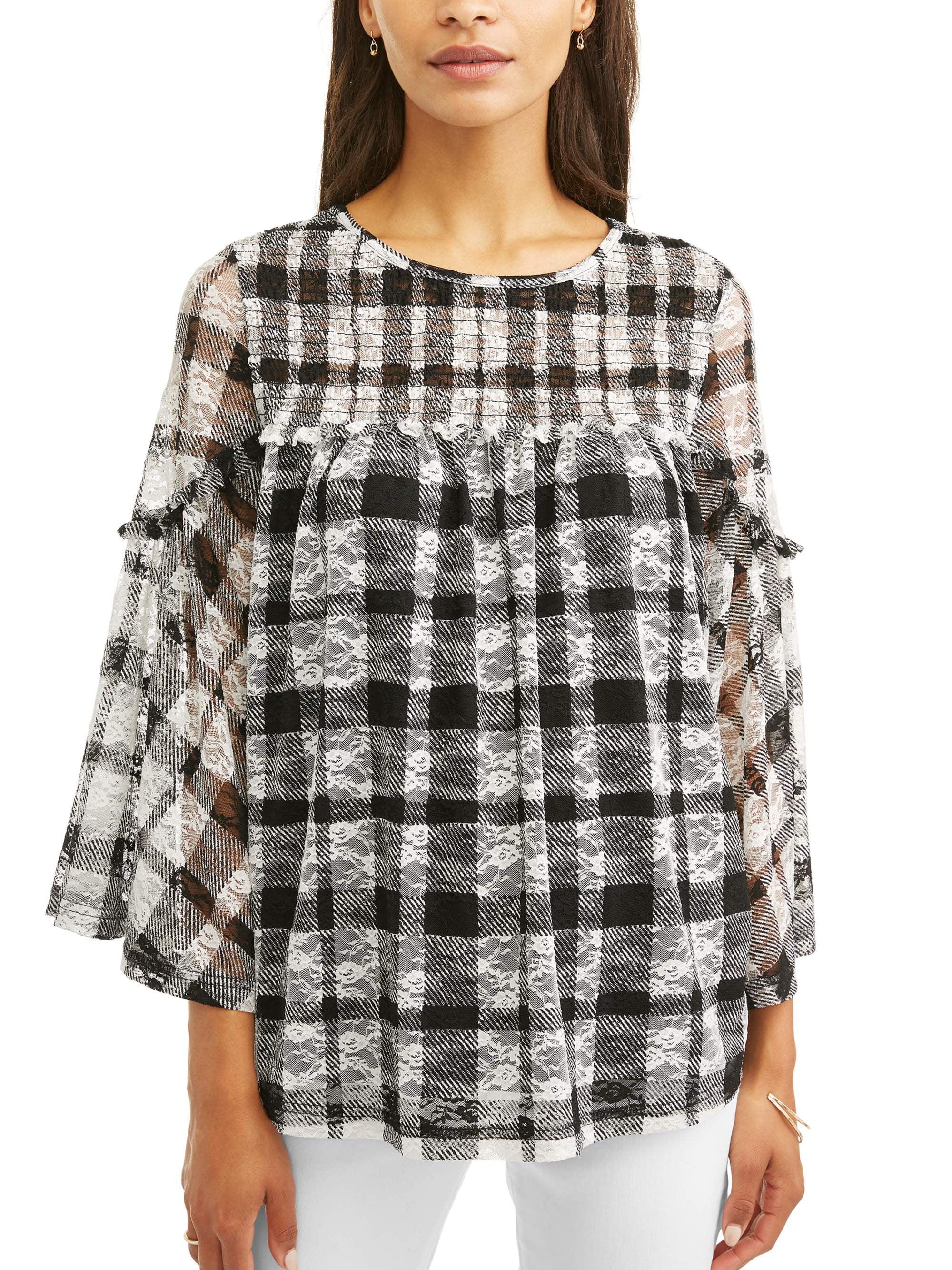 Women's Printed Lace Peasant Top