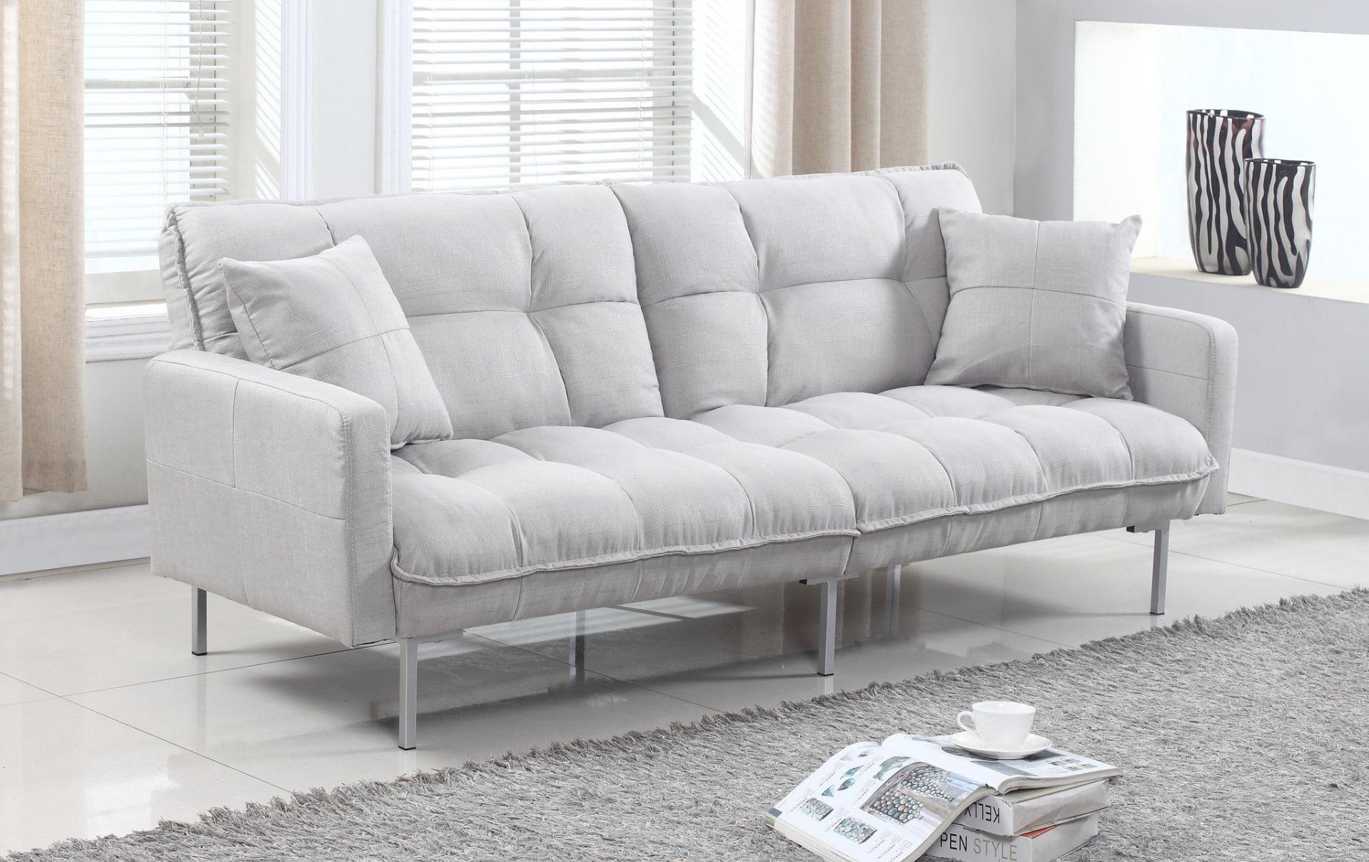 Modern Plush Tufted Linen Fabric Splitback Living Room Sleeper Futon Com