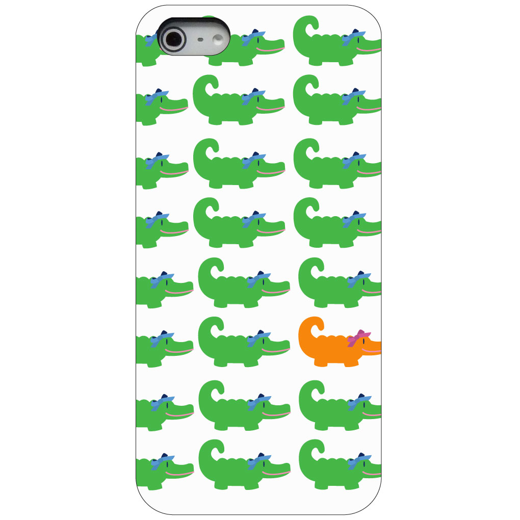 CUSTOM Black Hard Plastic Snap-On Case for Apple iPhone 5 / 5S / SE - Green Orange Blue Alligator Gator