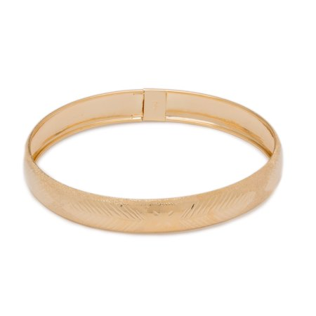 "Floreo 10k Yellow Gold bangle bracelet Flexible Round with Leaves and Bow Tie Design (0.5"")"