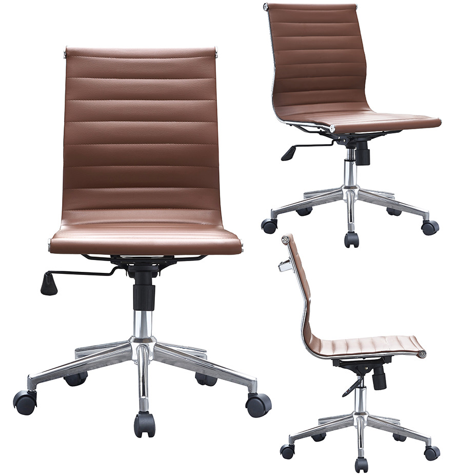 2xhome Brown Modern Mid Back Office Chair Armless No Arms Ribbed PU Leather  Swivel Tilt Adjustable Chair Designer Boss Executive Manager Office  Conference ...