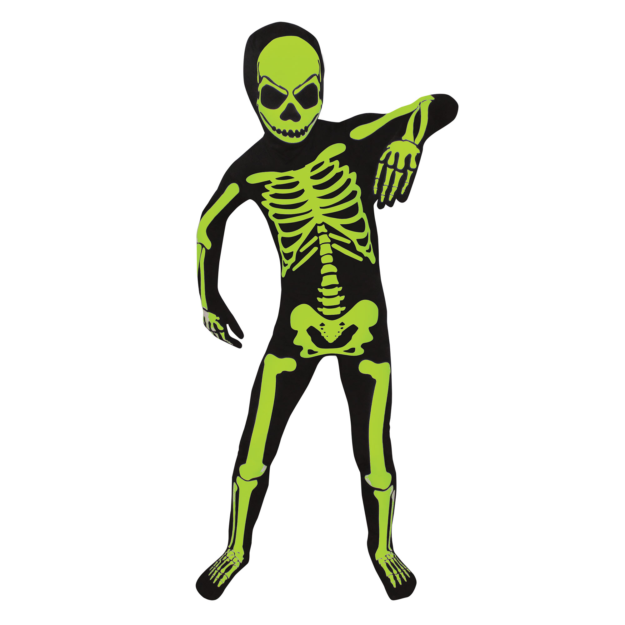 Boy Glow Skeleton Bodysuit X-Large Halloween Dress Up / Role Play Costume
