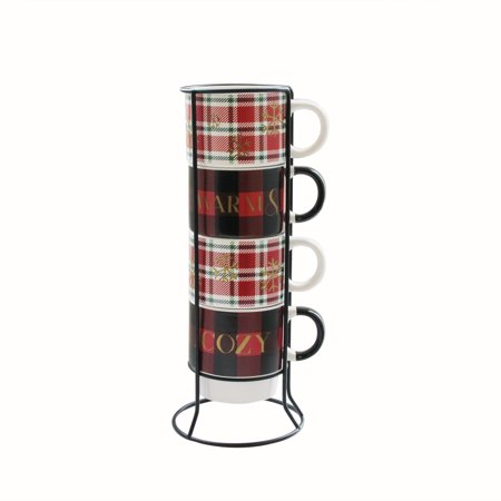 American Atelier Warm & Cozy Plaid 5 Piece Mug Set with Metal Rack ()
