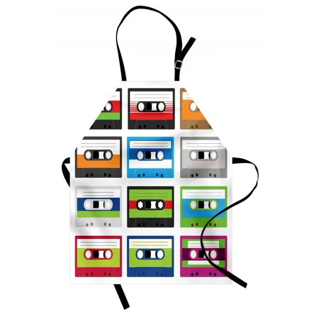 90s Apron Collection of Retro Plastic Audio Cassettes Tapes Old Technology Entertainment Theme, Unisex Kitchen Bib Apron with Adjustable Neck for Cooking Baking Gardening, Green Blue, by Ambesonne (90s Themed Food)