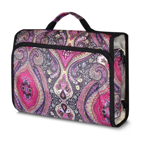 """Zodaca Toiletry Foldable Cosmetic Makeup Hanging Hook Organizer Portable Tote Carry Bag for Camping Hiking Backpacking Travel Bathroom (Size: 11.5""""L x 3""""D x 25.5""""H) - Purple Paisley - image 3 de 4"""