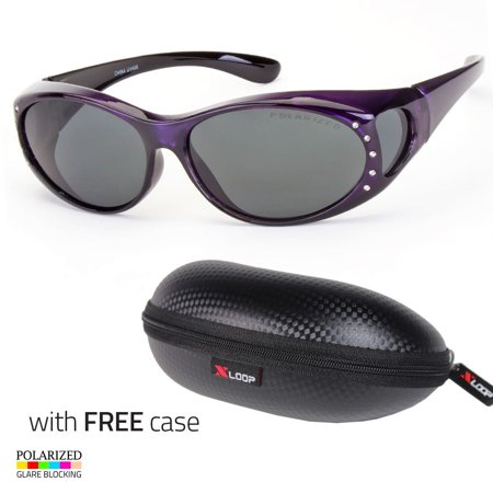 POLARIZED Rhinestone cover put over Sunglasses wear Rx glass fit driving Purpl (Shades Over Glasses)