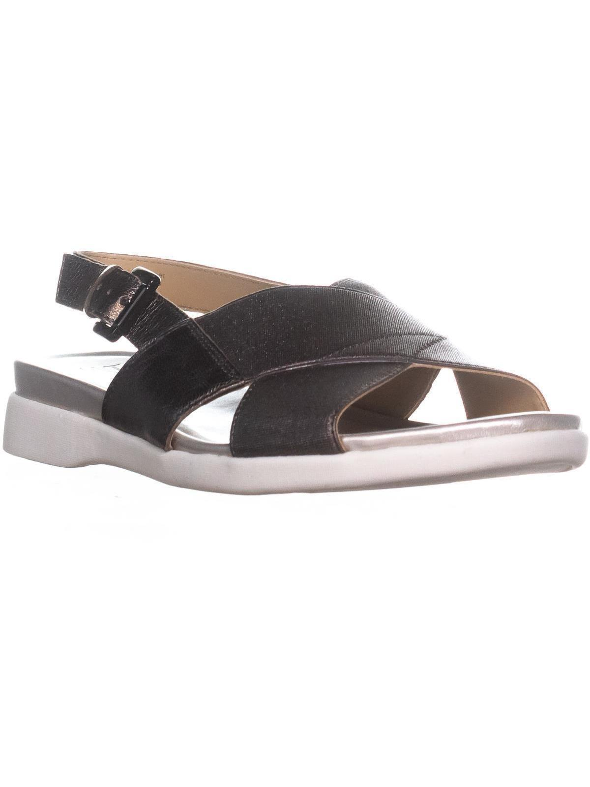 Womens Naturalizer Eliza Flat Ankle Strap Sandals, Gunmetal Leather by Naturalizer