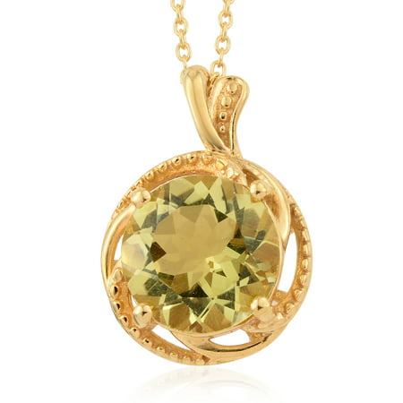 """Lemon Quartz Pendant Necklace in 14K Yellow Gold Over 925 Sterling Silver & ION Plated Yellow Gold Stainless Steel 18"""" Ct 2.7"""