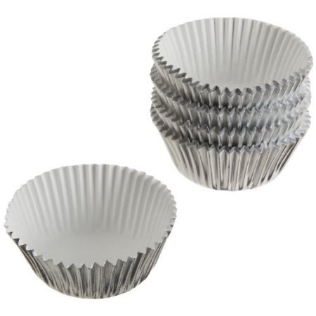 (3 Pack) Wilton Mini Cupcake Liners, Silver Foil, 80 Ct (Mini Cupcake Recipes For Halloween)