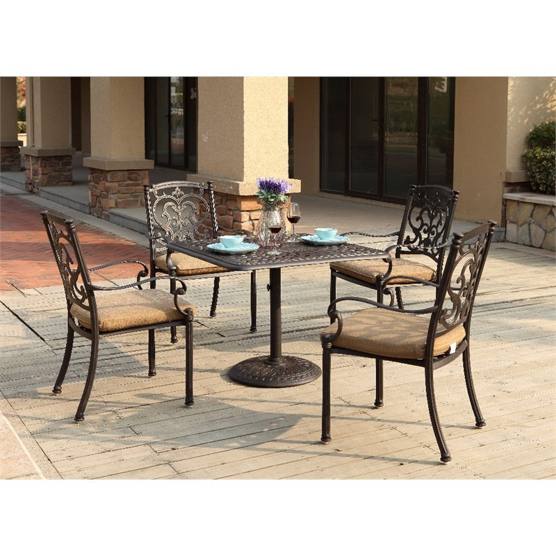 Darlee Santa Barbara 5 Piece Patio Dining Room Set with Seat Cushion by Darlee