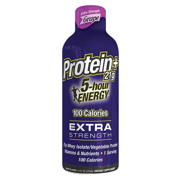 5-hour ENERGY Extra Protein Strength Grape Energy Drink 6 oz Plastic Bottles - Pack of 6