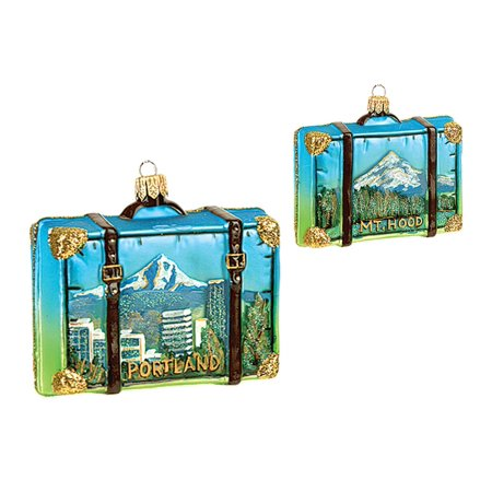 Portland Oregon Travel Suitcase Glass Christmas Ornament Mt Hood ONE Decoration