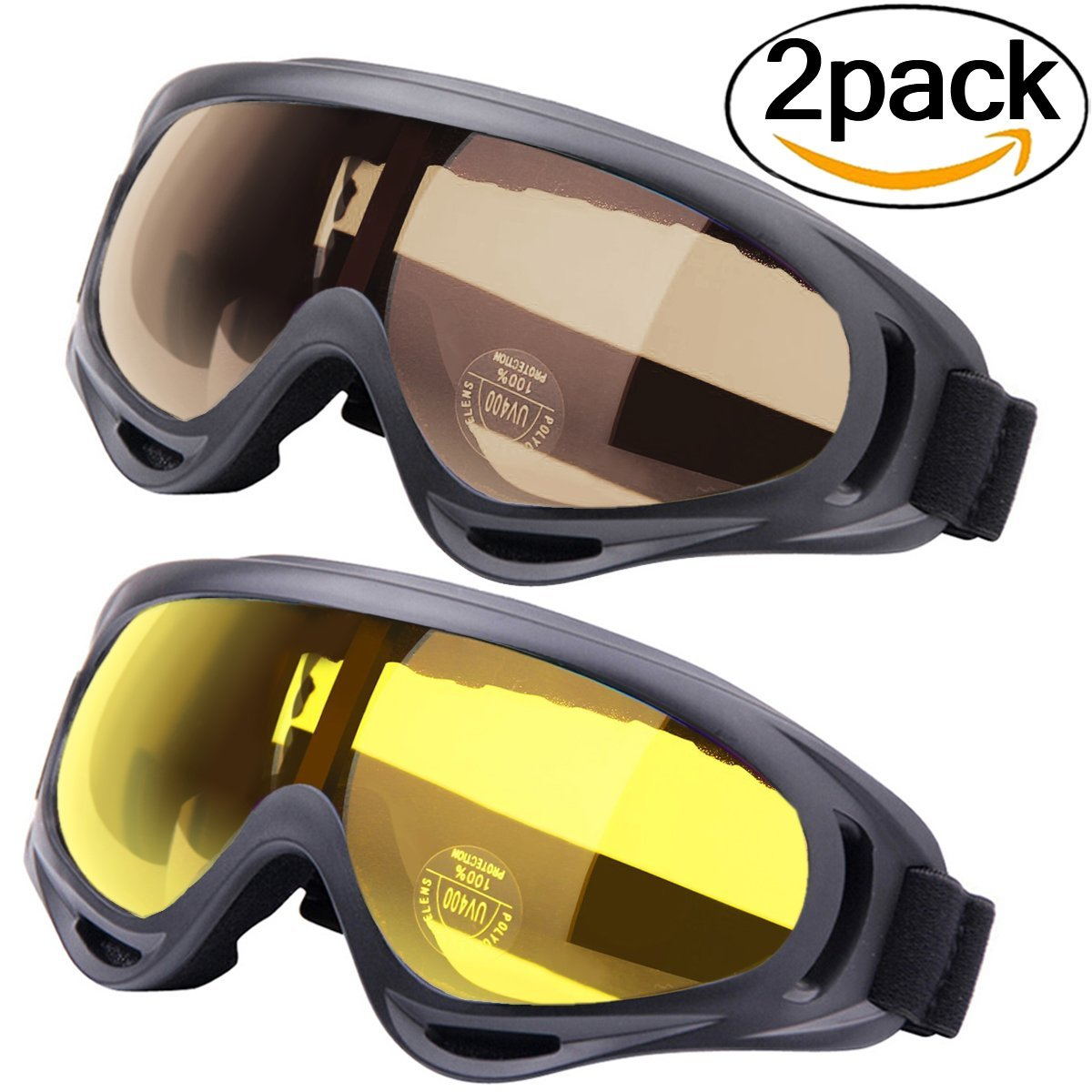 Outgeek Ski Goggles 2-Pack Skate Glasses with UV 400 Protection Windproof and Dustproof for Snowboard Motorcycle Bicycle by Ski Goggles