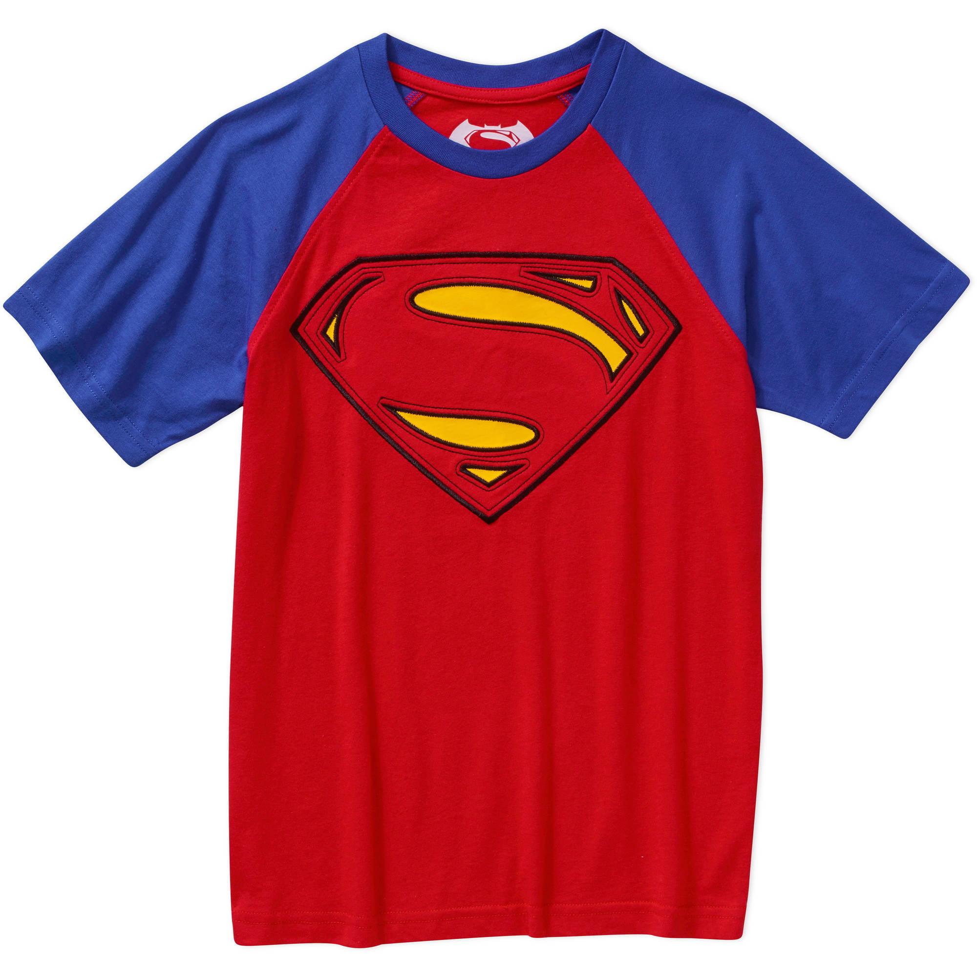 DC Comics Superman Boys Raglan Sleeve Graphic Tee