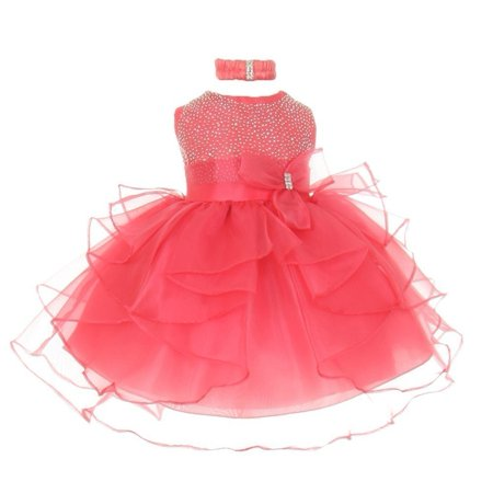 Little Girls Coral Organza Rhine studs Bow Sash Flower Girl Dress 3T - Flower Girl Dresses Organza
