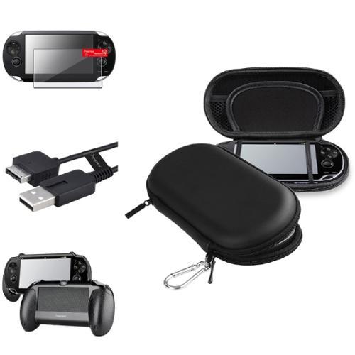 Insten Black Hand Grip+Screen Protector+Black EVA Case+USB Cable For Sony PS Vita PSV