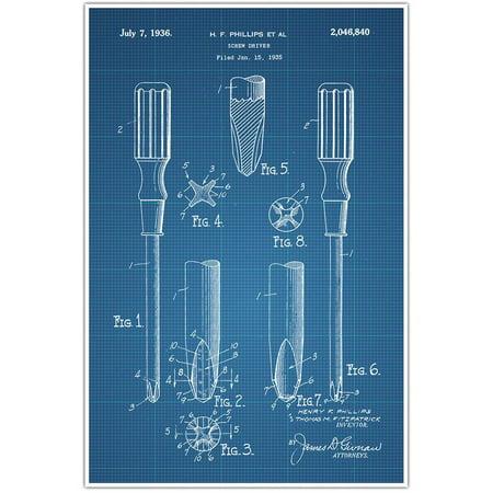 Carpentry Screwdriver Tools Patent Blueprint, Photo Art - Blue Draft