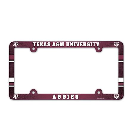 Texas A Aggies Official NCAA 12 inch x 6 inch Plastic License Plate Frame by Wincraft