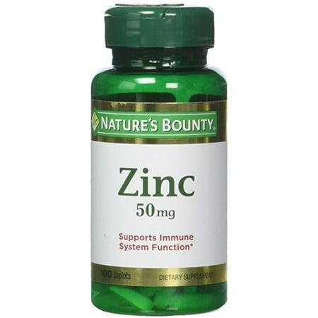 (2 pack) Nature's Bounty Zinc Caplets, 50 Mg, 100 (Best Zinc Supplement For Kids)
