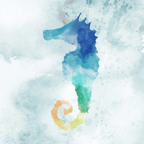 PTM Images Water Color Seahorse with Glass Coat Painting Print on Wrapped Canvas