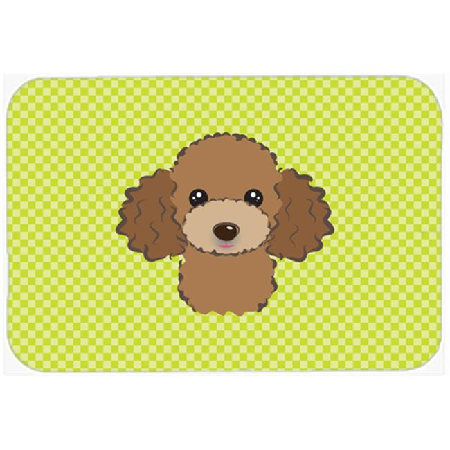 Checkerboard Lime Green Chocolate Brown Poodle Mouse Pad, Hot Pad Or Trivet, 7.75 x 9.25 In.