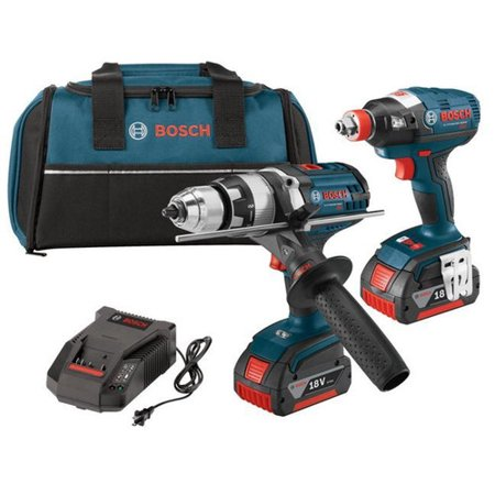 Bosch CLPK223-181 18V EC Brushless Lithium-Ion Brute Tough Drill Driver and Socket-Ready Hex Impact Driver Brute Tough 0.5' Drill