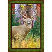 Deer In Meadow Fall Autumn Decorative House Flag by NCE