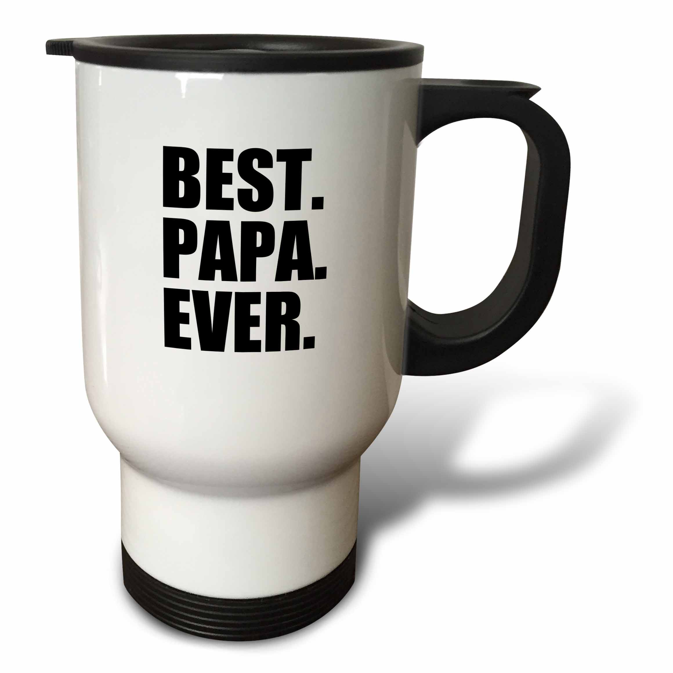 3dRose Best Papa Ever - Gifts for dads, Father nicknames, Fathers Day - black text, Travel Mug, 14oz, Stainless Steel