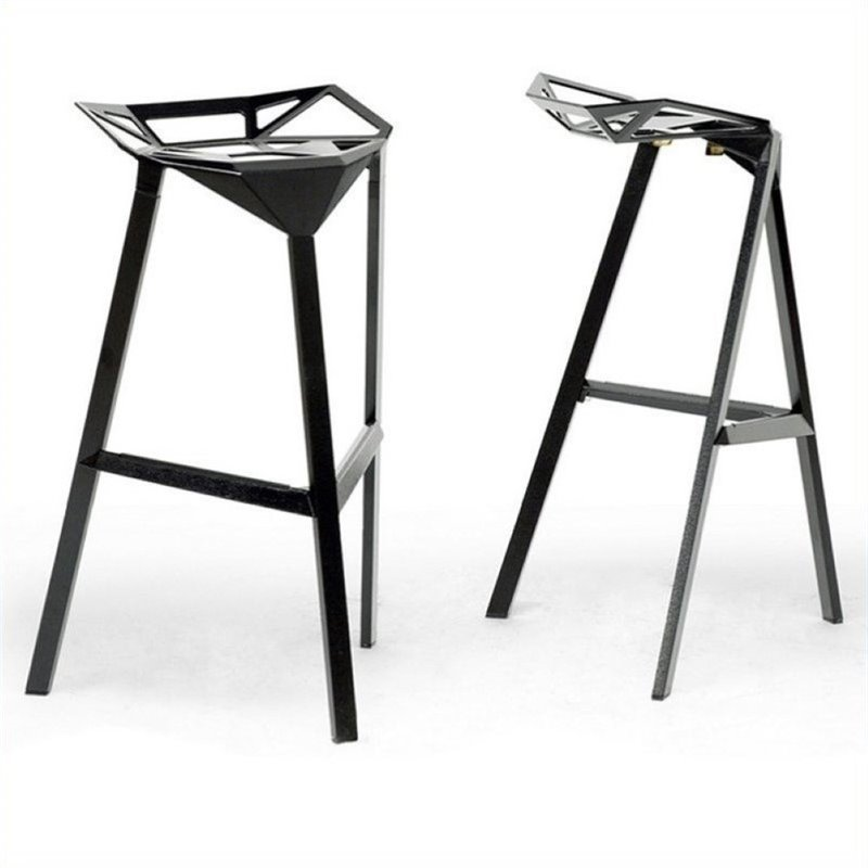 "Atlin Designs 31.75"" Aluminum Bar Stool in Black (Set of 2)"