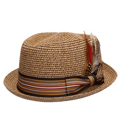 Fedora Pork Pie Straw Hat w/ Striped Band and Removable Feather Summer Cool Hat (Striped Hat)
