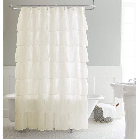 Chezmoi Collection Crushed Voile Sheer Shabby Chic Ruffle Shower Curtain With Rings Cream