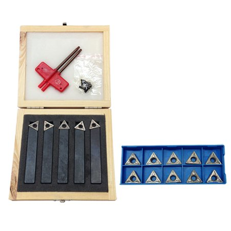5 PC 1/2' Indexable Carbide Insert Lathe Turning Tool Bit + 10 Pc Tips -