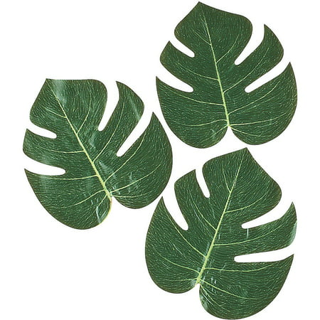 12 Polyester Tropical Green Palm Leaves Luau Hawaiian artificial Decoration (Hawaiian Theme Decorations)