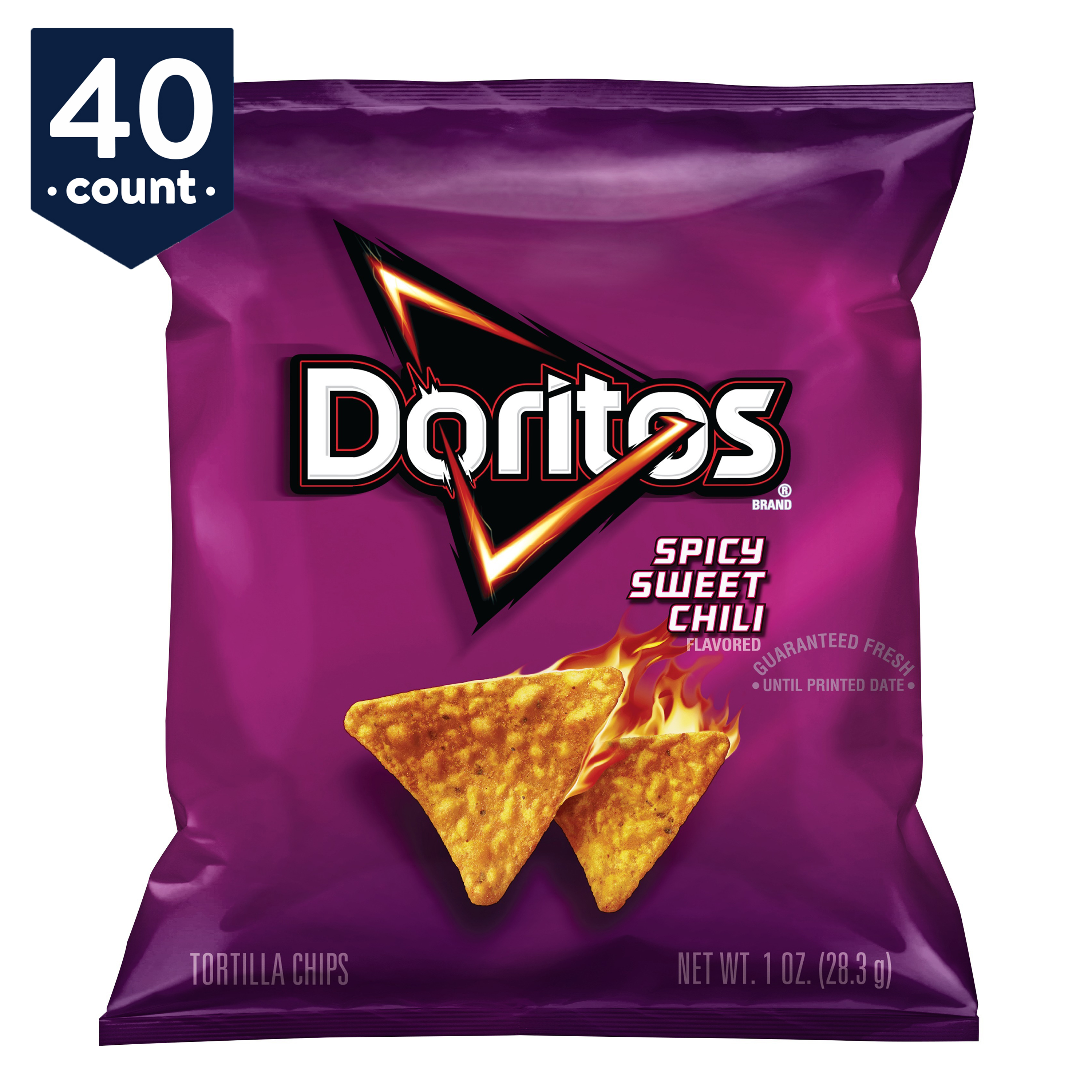 Doritos Tortilla Chips Snack Pack, Spicy Sweet Chili, 1 oz Bags, 40 Count