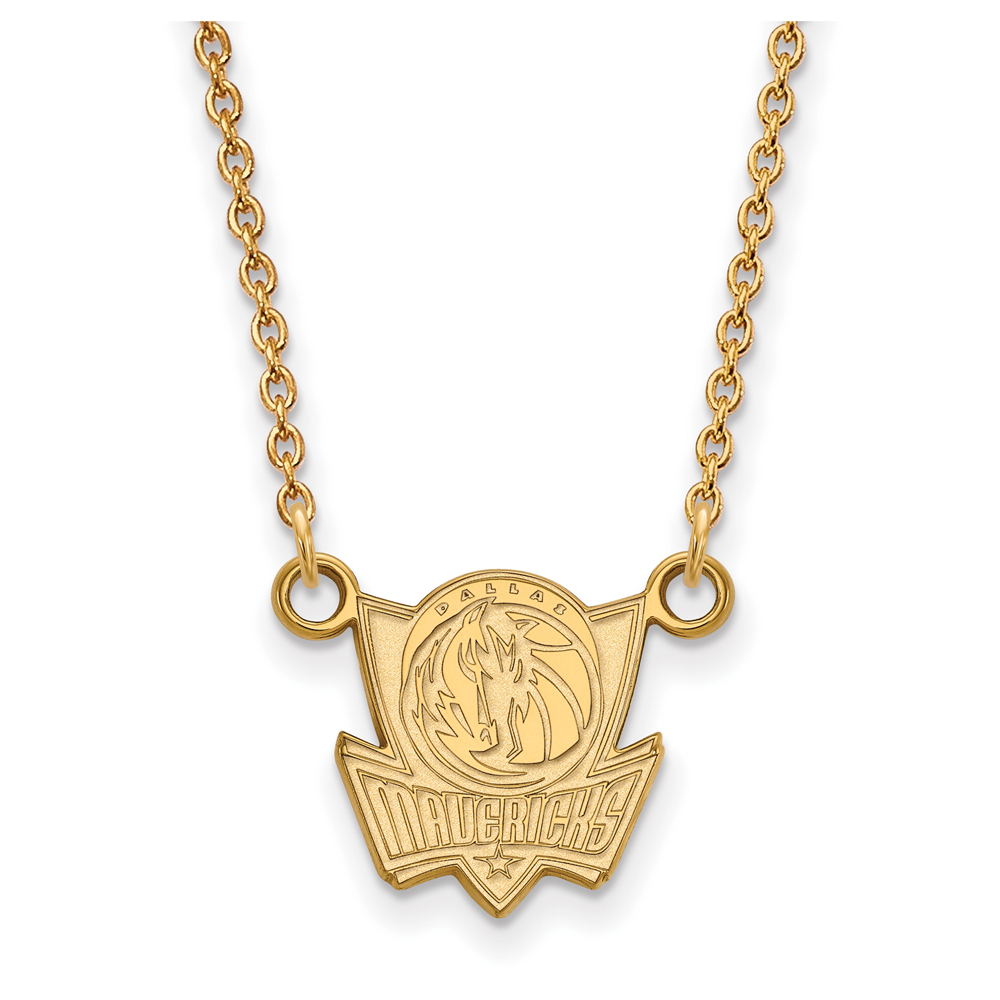 LogoArt NBA Dallas Mavericks 14kt Gold-Plated Sterling Silver Small Pendant with Necklace