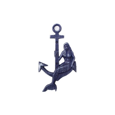 Rustic Dark Blue Cast Iron Mermaid Anchor 9