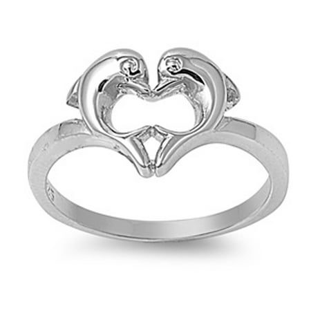 Sterling Silver Women's Heart Love Dolphins Ring Promise Band 10mm Size