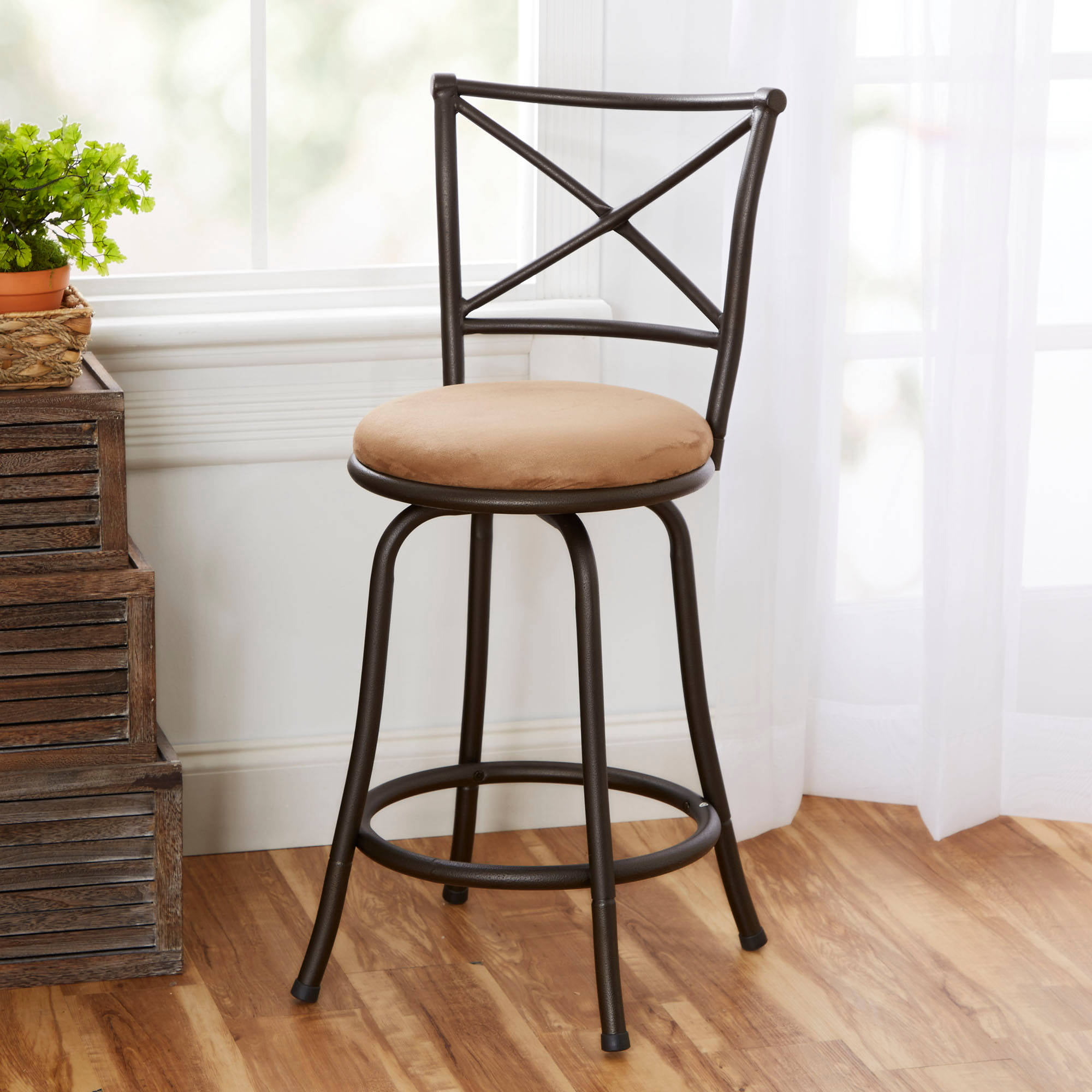 Mainstays 24  Swivel X-Back Hammered Bronze Barstool Multiple Colors - Walmart.com & Mainstays 24