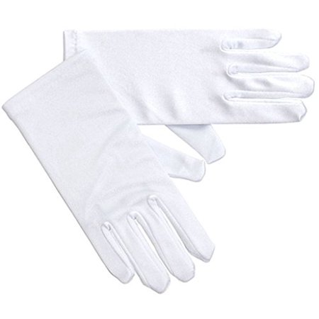 Little Girl Satin Stretch Wrist Length Gloves White 0-3 GL703-2BL (Girls Elite Glove)