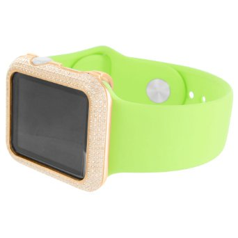 Rose Gold Finish Apple Watch IOS Display Green Rubber Band 42 MM Genuine Diamond