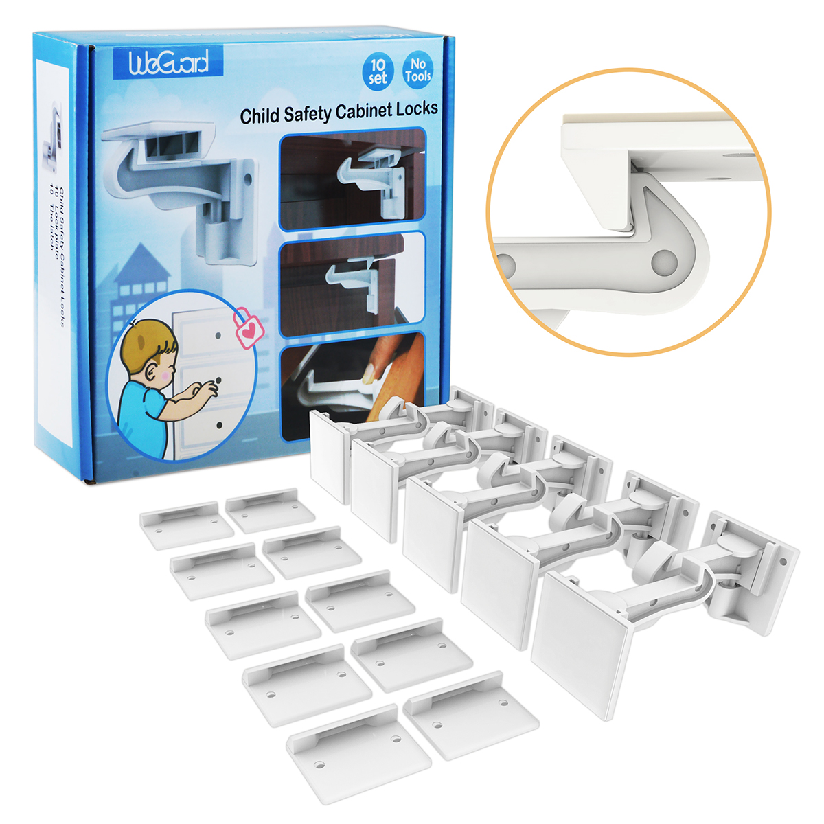 Cabinet Locks Child Safety, ABLEGRID 10 Pack Invisible Baby Proof Drawer Cabinet Locks Latches Easy Install No... by Ablegrid