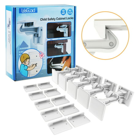 Cabinet Locks Child Safety, ABLEGRID 10 Pack Invisible Baby Proof Drawer Cabinet Locks Latches - Easy Install No Drill No Tool No Key (Best Lock For Vespa)