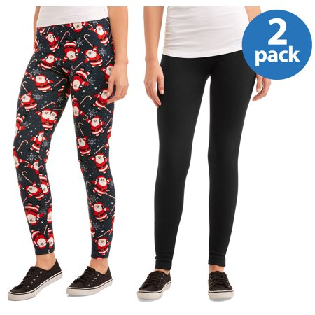380005f6b67a97 Faded Glory - Women's 2 Pack Printed Legging Holiday Combo - Walmart.com