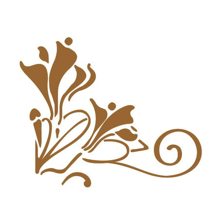Floral Corner Vinyl Decals Small Gold